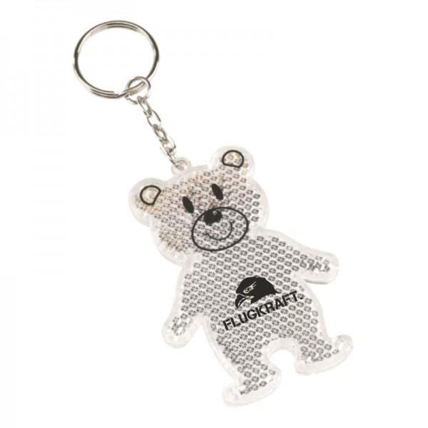 Schlüsselanhänger TEDDY reflektierend weiß